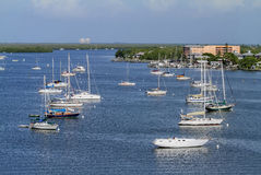 Sailboats moored off of Fort Myers Beach Bridge royalty free stock photos