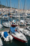 Sailboats moored in the port. Sete - France - 18 August 2017 - sailboats moored in the port stock images