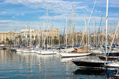 Sailboats Moored In Port Vell, Barcelona Royalty Free Stock Photography