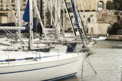 Sailboats Moored At Portomaso Marina in St. Julian, Malta.  Royalty Free Stock Photos