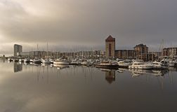 Sailboats moored on the River Tawe at the Swansea Marina. stock image