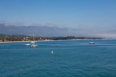 Sailboats Moored in Santa Barbara Stock Photos