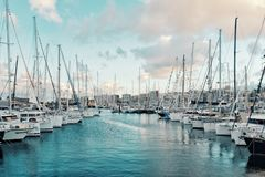 sailboats moored up waiting on the pontoon just days before the arc 2018 atlantic crossing sailing regatta starts during sunset royalty free stock photos
