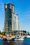 Sailboats and motorboats, Gdynia, Sea Towers Royalty Free Stock Photography