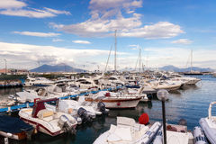 Sailboats and motorboats moored in the marina Stock Photo