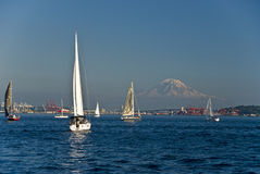 Sailboats and mountain Stock Photos
