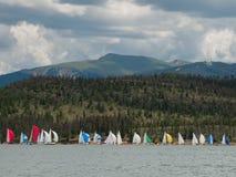 Sailboats on Mountain Lake Stock Photos