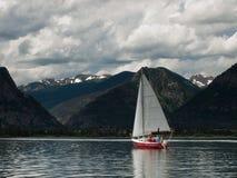 Sailboats on Mountain Lake Stock Photo