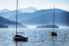 Sailboats and mountains Royalty Free Stock Photography