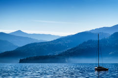 Sailboats and mountains Royalty Free Stock Images