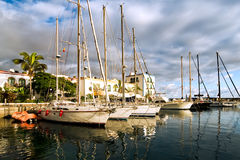 Sailboats in the nice little town Mogan on Gran Ca Stock Photos