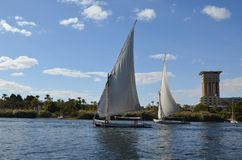 Sailboats on the Nile River, Egypt royalty free stock images