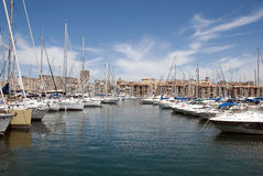 Sailboats no porto de Marselha Foto de Stock Royalty Free