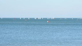 Sailboats in the north Sea. In the city of Dunkirk, with a view of the North Sea. There are a lot of sailboats in the water. Filmed on a sunny day in October stock video