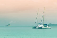 Sailboats in ocean. Seychelles seascape. Anse Lazio Stock Photos