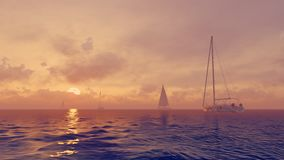 Sailboats in the ocean at sunrise Royalty Free Stock Photo