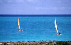 Sailboats on the ocean-Stock photos. Two 2 sailboats on the ocean in the Caribbeans Royalty Free Stock Image