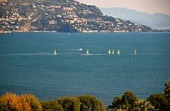 Sailboats Off Cap Ferrat Stock Images