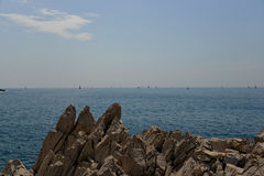 Sailboats Off Cap Ferrat Royalty Free Stock Photography