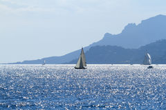 Sailboats off the coast of Cannes Royalty Free Stock Photo
