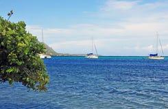 Sailboats off Moorea, Tahiti French Polynesia Stock Photography