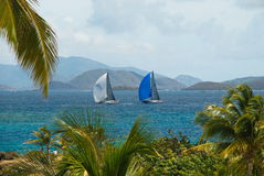 Sailboats off St. Thomas, US Virgin Islands. Two sailboats on the Caribbean sea off the island of St. Thomas, US Virgin Islands Royalty Free Stock Photo