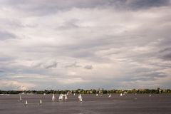 Sailboats on Outer Alster Lake Hamburg, joining in regattas or for relaxation outdoors. Sailboats on Outer Alster Lake Hamburg, Germany joining in regattas or Stock Image