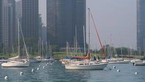 sailboats parking at Monroe Harbor at Michigan lake Royalty Free Stock Image