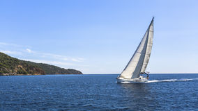 Sailboats participate in sailing regatta. Luxury Yachts stock images