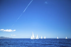 Sailboats participate in sailing regatta Royalty Free Stock Photography