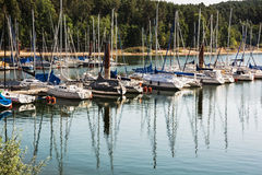 Sailboats at the pier in Brombachsee, Germany, summer vacation Stock Photos