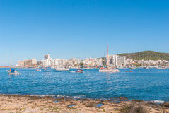 Sailboats & pleasure craft moored.  Morning in the harbor of Sant Antoni de Portmany, Ibiza town, Balearic Islands, Spain. Royalty Free Stock Image