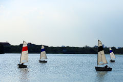 The Sailboats on a pond Royalty Free Stock Images