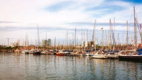 Sailboats in Port of Barcelona, Spain Royalty Free Stock Photo