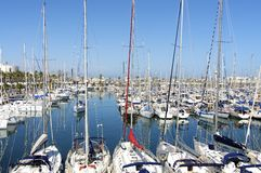 Sailboats in Port Olympic Barcelona Royalty Free Stock Images