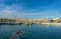 Sailboats in Port Vell Barcelona. Yachts and sailboats in Port Vell marina in Barcelona, Catalonia, Spain Stock Photo