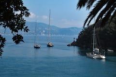 Sailboats in Portofino, Italy. stock photo