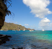 Sailboats preparing to race in the caribbean Stock Photos