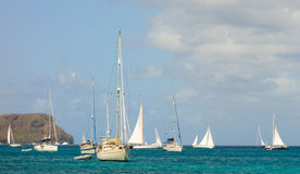 Sailboats preparing to race in the caribbean Stock Photo