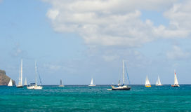 Sailboats preparing to race in the caribbean Stock Photography