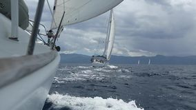 Sailboats during race regatta of the Sea. Sailing, luxury yachts. stock footage