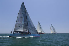 Sailboats Racing In The Blue Ocean Against Sky Stock Image