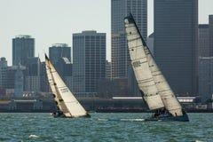 Sailboats racing in San Francisco Bay Stock Photo