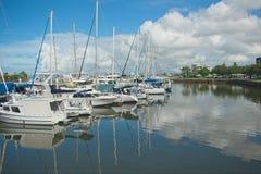 Mooloolaba, Qld, Australia - May 3, 2019: Luxury sailboats reflecting in water. Sailboats reflecting in water on a beautiful sunny day stock images