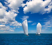 Sailboats regatta sailing in Mediterranean Royalty Free Stock Image