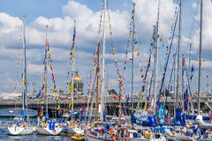 Sailboats on regatta in Saint-Petersburg Royalty Free Stock Image