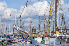 Sailboats on regatta in Saint-Petersburg Royalty Free Stock Images