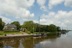 Sailboats on the Reitdiep. In Groningen, the Netherlands Stock Images