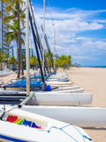 Sailboats for rent at Fort Lauderdale beach in Florida Stock Photo