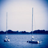 Sailboats in retro style Stock Photo